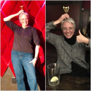 Laura's first and second trophies from Write Club Denver