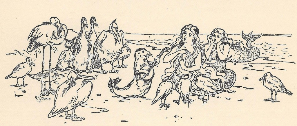 Mermaid and seal with banjo from The Outlook Story Book