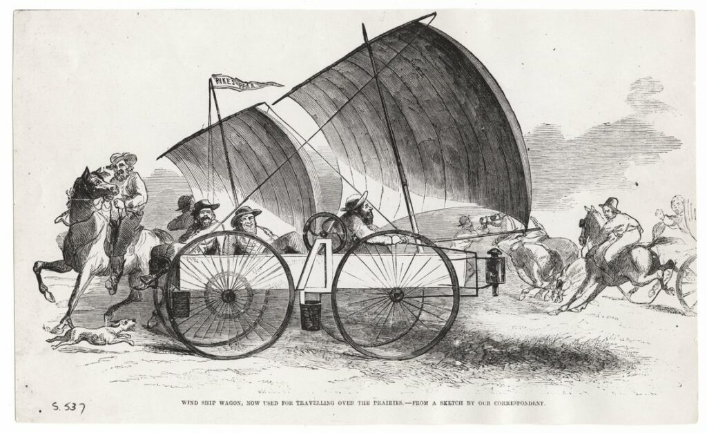 An illustration of Sam Peppard's Wind Wagon.