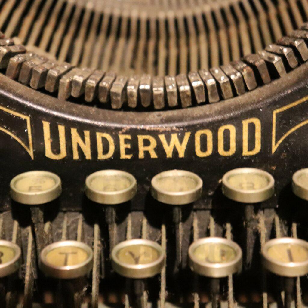 Close up promo photo of Ramsey's Underwood typewriter.